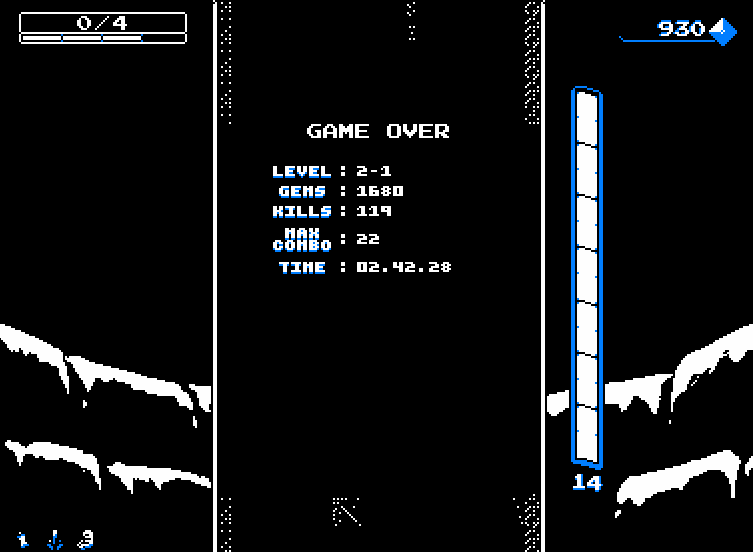 Downwell Game Over Screen